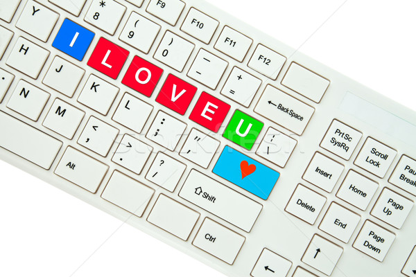 Wording I Love You on computer keyboard isolated on white backgr Stock photo © pinkblue