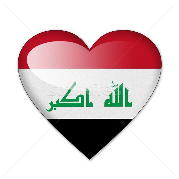 Irak bayrak kalp şekli yalıtılmış beyaz sevmek Stok fotoğraf © pinkblue