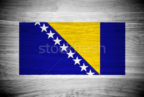 Stockfoto: Bosnië-Herzegovina · vlag · houtstructuur · textuur · muur · natuur