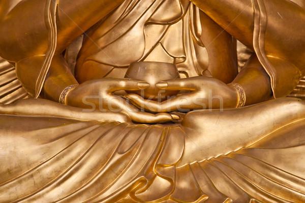 Kéz arany Buddha szobor meditáció pálma Stock fotó © pinkblue
