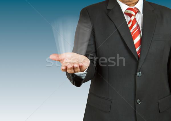 Сток-фото: бизнесмен · свет · стороны · бизнеса · Palm · знак