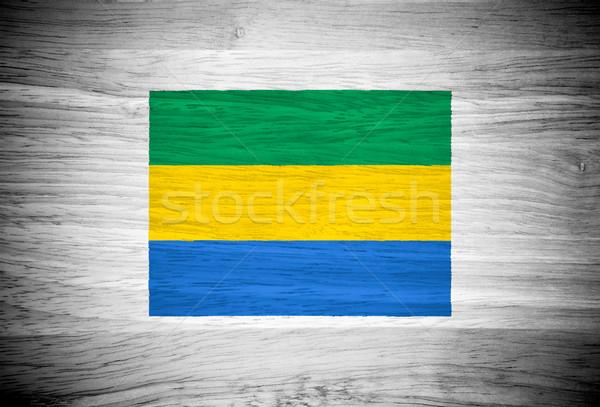 Габон флаг текстура древесины стены природы кадр Сток-фото © pinkblue