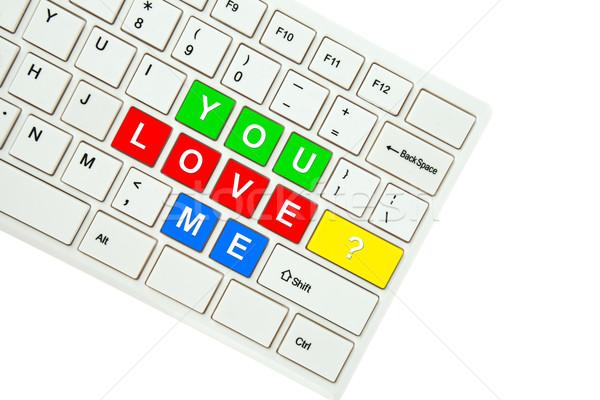 Stockfoto: Liefde · me · geïsoleerd · witte · computer