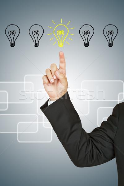 üzletember villanykörte üzlet fény technológia üveg Stock fotó © pinkblue