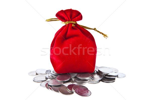 Kırmızı kadife madeni para yalıtılmış beyaz iş Stok fotoğraf © pinkblue