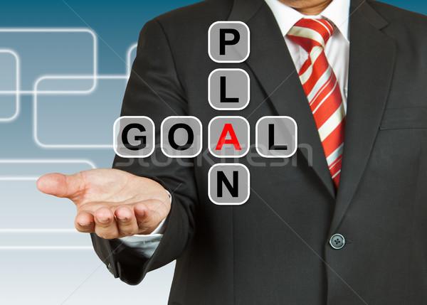 Zakenman hand tekening plan doel business Stockfoto © pinkblue