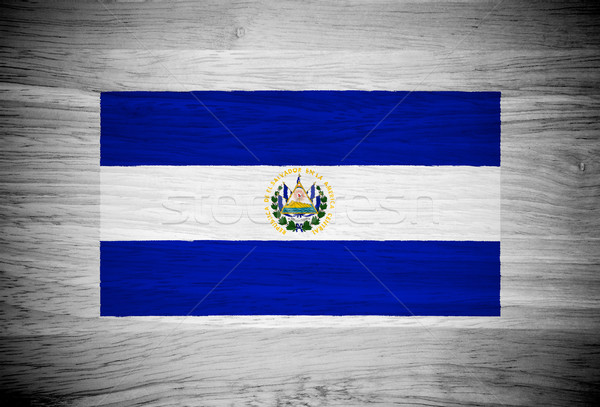 El Salvador flag on wood texture Stock photo © pinkblue