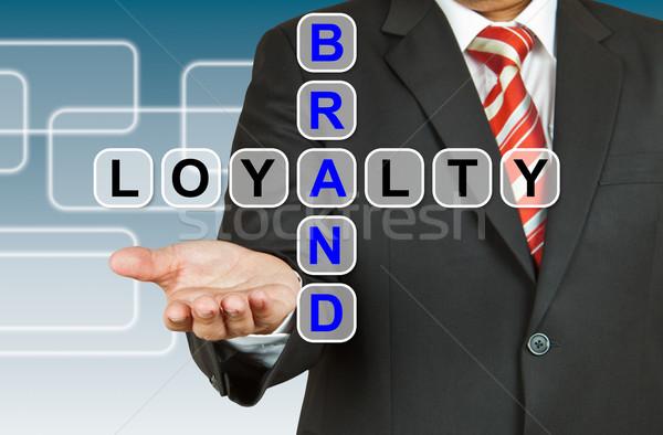 Geschäftsmann Hand Zeichnung Marke Loyalität Stift Stock foto © pinkblue