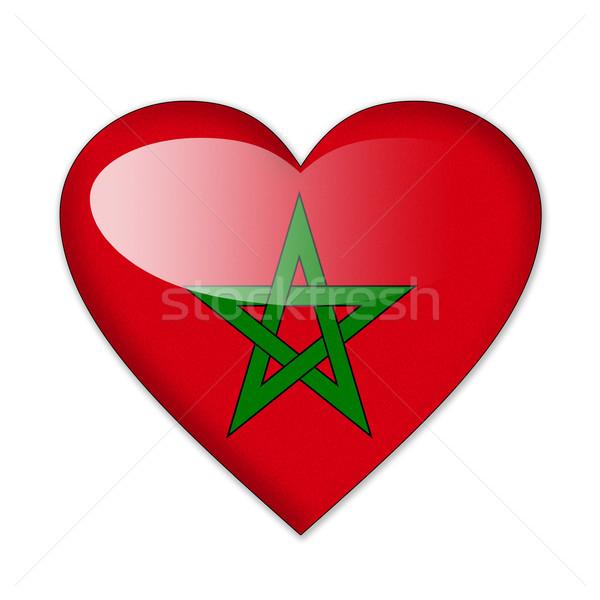 Marrocos bandeira forma de coração isolado branco amor Foto stock © pinkblue