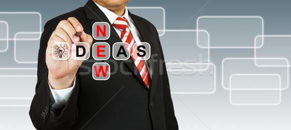 Stockfoto: Zakenman · hand · tekening · nieuwe · ideeën · business