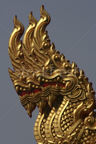 Golden Triple Naga in Thai Temple Stock photo © pinkblue