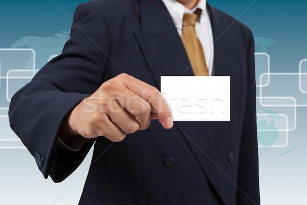 Businessman show a blank businesscard Stock photo © pinkblue