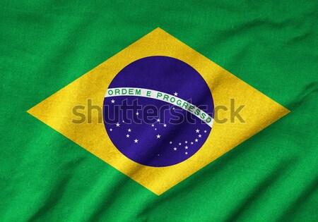 Brezilya bayrak doku boyama kumaş duvar kağıdı Stok fotoğraf © pinkblue