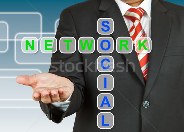 üzletember kéz rajz közösségi háló üzlet internet Stock fotó © pinkblue