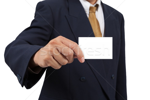 Businessman show a blank businesscard isolated on white backgrou Stock photo © pinkblue
