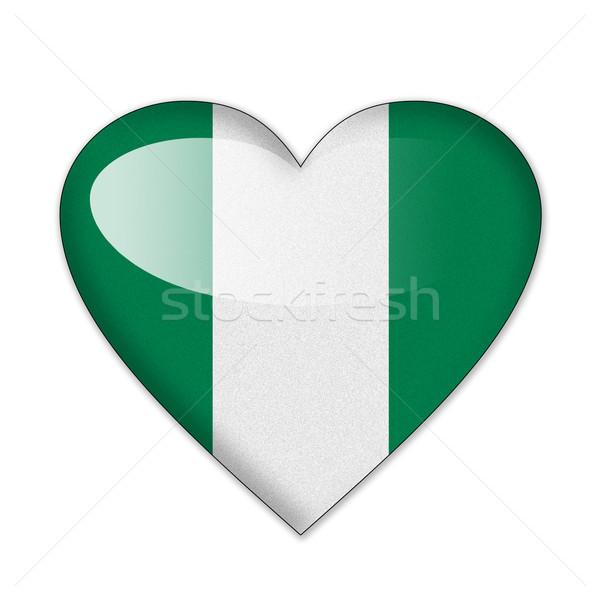 Nijerya bayrak kalp şekli yalıtılmış beyaz sevmek Stok fotoğraf © pinkblue