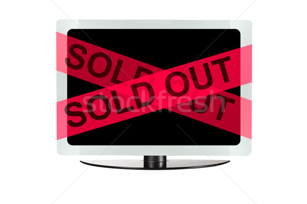 Computer with red sold out tape Stock photo © pinkblue
