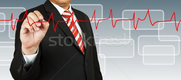 Biznesmen zwrócić puls line działalności pióro Zdjęcia stock © pinkblue
