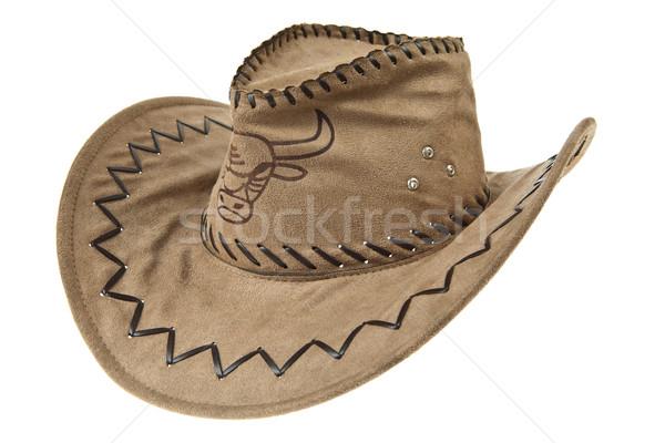 Brązowy sombrero odizolowany biały złota cień Zdjęcia stock © pinkblue