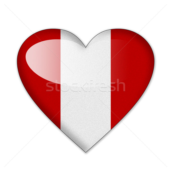 Peru zászló szív alak izolált fehér szeretet Stock fotó © pinkblue
