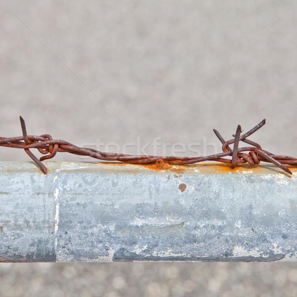 Zardzewiałe drutu kolczastego metal rur niebieski ogrodzenia Zdjęcia stock © pinkblue