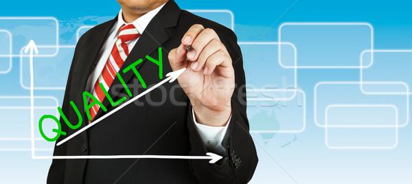 Stock fotó: Férfi · kéz · rajz · grafikon · minőség · felfelé