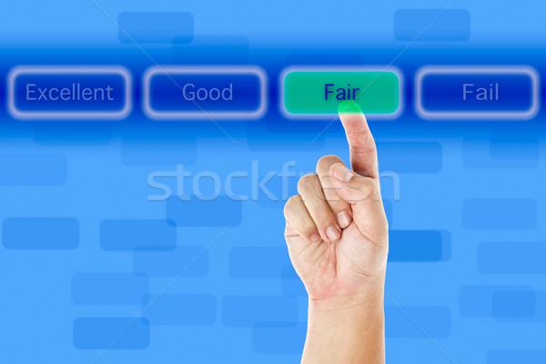 The hand push fair button Stock photo © pinkblue