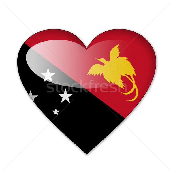 Папуа-Новая Гвинея флаг формы сердца изолированный белый любви Сток-фото © pinkblue