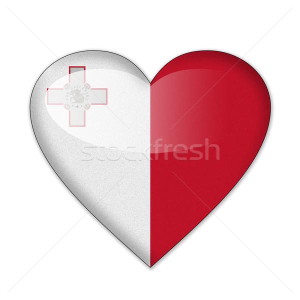 Stockfoto: Malta · vlag · hartvorm · geïsoleerd · witte · liefde