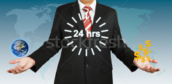 Businessman balance earth and dollar for 24 hours. Elements of t Stock photo © pinkblue