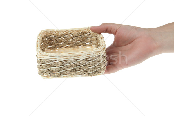 Wicker Box with hand isolated on white background Stock photo © pinkblue