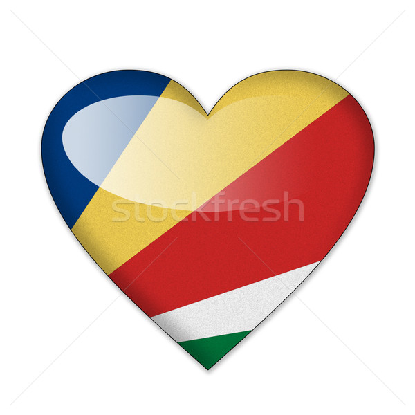 Stock photo: Seychelles flag in heart shape isolated on white background