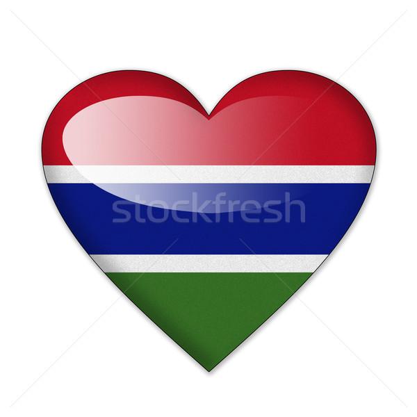 Gambie pavillon forme de coeur isolé blanche amour Photo stock © pinkblue