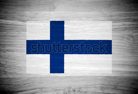Stock photo: Finland flag on wood texture
