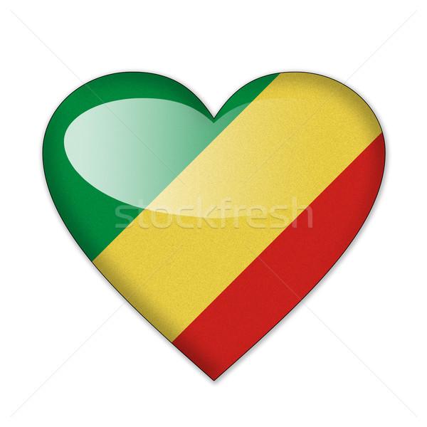 Congo banderą kształt serca odizolowany biały miłości Zdjęcia stock © pinkblue