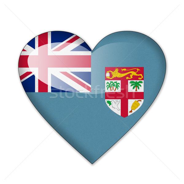 Fiji bandeira forma de coração isolado branco amor Foto stock © pinkblue