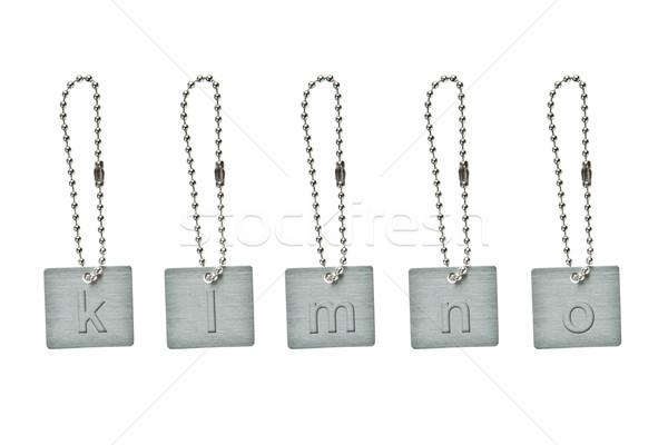 Ezüst fém kulcs címke kicsi levél Stock fotó © pinkblue