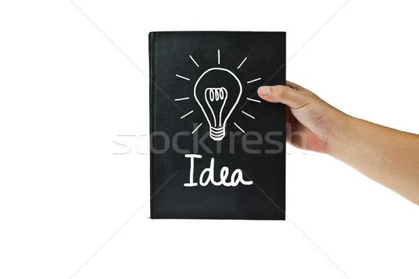 Fekete könyv villanykörte ötlet háttér tanulás Stock fotó © pinkblue