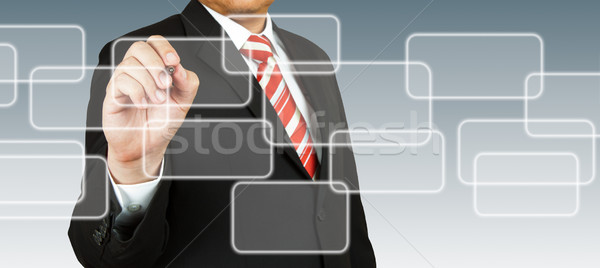 Empresario mano dibujo rectangular pluma lápiz Foto stock © pinkblue