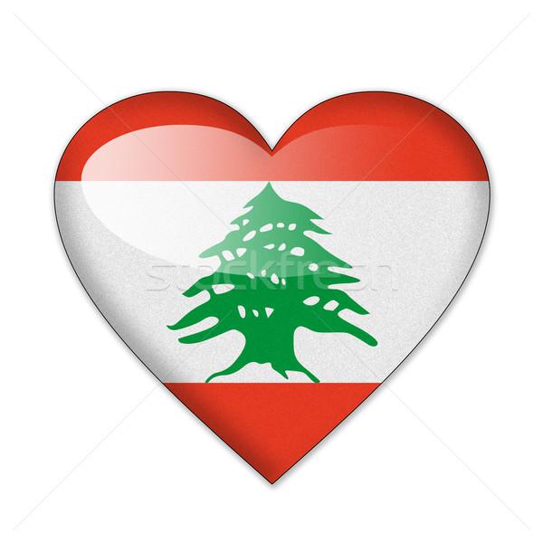 レバノン フラグ 心臓の形態 孤立した 白 愛 ストックフォト © pinkblue