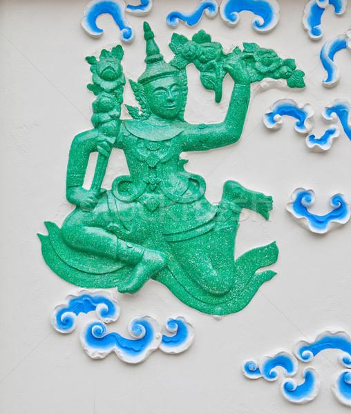 Melek heykel duvar yüz dizayn güzellik Stok fotoğraf © pinkblue