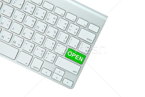 Zielone otwarte przycisk odizolowany biały Zdjęcia stock © pinkblue