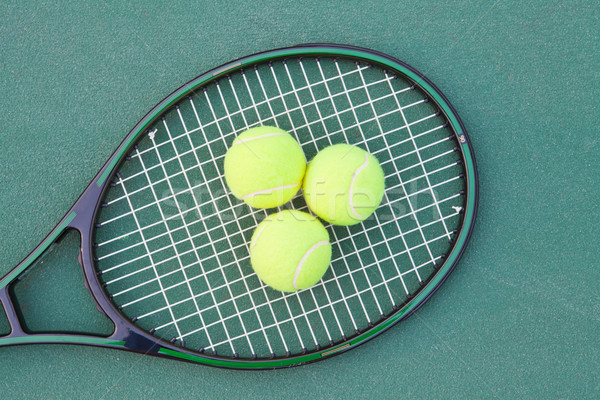 Tennis court with ball and racket Stock photo © pinkblue