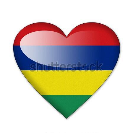 Mauritius banderą kształt serca odizolowany biały miłości Zdjęcia stock © pinkblue