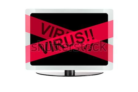 Computer with red virus tape Stock photo © pinkblue