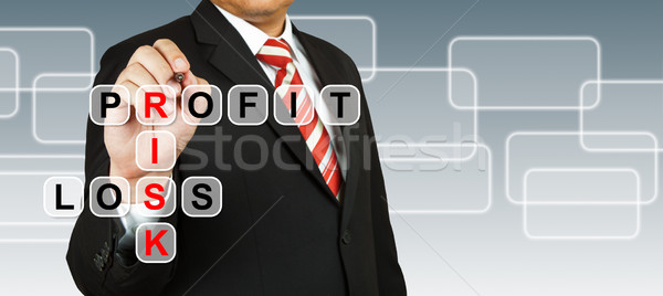 Businessman hand drawing Profit, Risk, and Loss Stock photo © pinkblue