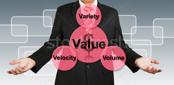 Stockfoto: Zakenman · waarde · informatie · geld · man · web