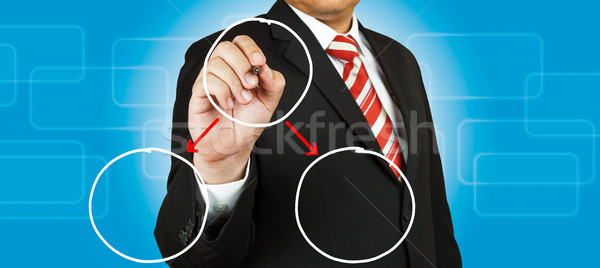 Zakenman tekening cirkel diagram business achtergrond Stockfoto © pinkblue