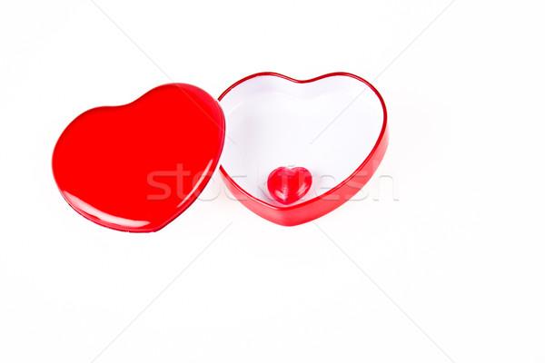 Piros szív doboz cukorka bent szeretet Stock fotó © pinkblue