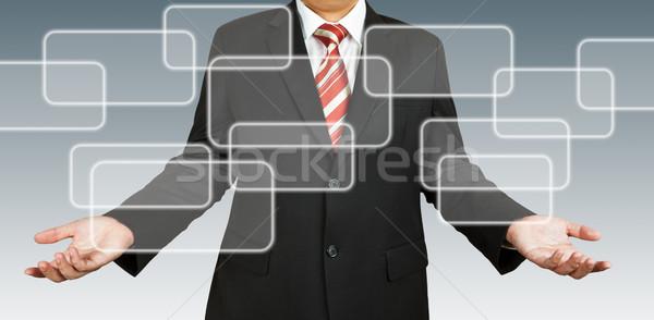 Işadamı dikdörtgen biçiminde Bina adam web yazı Stok fotoğraf © pinkblue